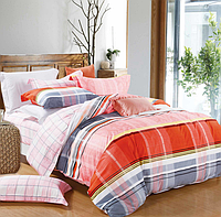 Постельное белье односпальное 145х215 см мако-сатин CottonTwill полосы и клетка Эдуард Розовый