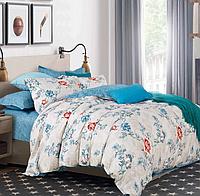 Двуспальные комплекты постельного белья  175х215 см мако-сатин CottonTwill с розами Феличита Белый