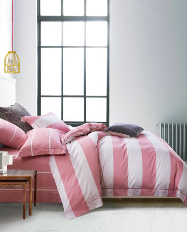 Евро постельное белье 200х220 см Сатин CottonTwill в полоску Страйп Розовый