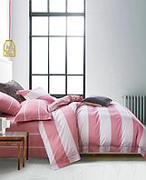 Постельное белье Двуспальный 175х215 см Сатин CottonTwill в полоску Страйп Розовый