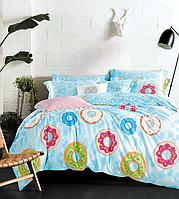 Постельное белье Полуторный 145х215 см мако-сатин CottonTwill с пирожными Пончики Голубой