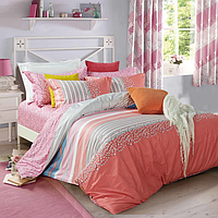 Постельное белье полуторное 145х215 см мако-сатин CottonTwill с листочками и полосами Ника Розовый