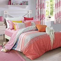 Постельное белье односпальное 145х215 см мако-сатин CottonTwill с листочками и полосами Ника Розовый