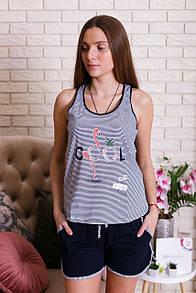 """Практичний жіночий комплект з шортиками і майкою з фламінго """"Cool"""""""