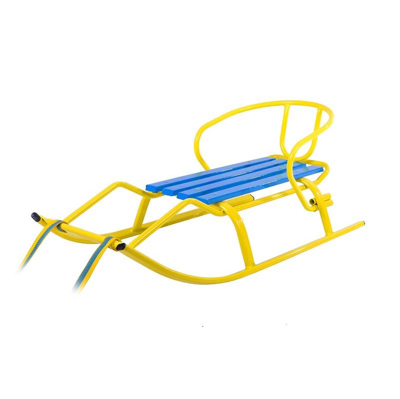 """Санки """"Спорт Ф1 """" Vitan желтые-синие (планка  синяя)"""
