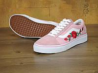 Женские кеды Vans Old Skool Art Pink Rose (Ванс Олд Скул Розы) 36.5