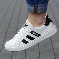 Кроссовки мужские Adidas кожаные белые ( код 9813 ) - кросівки чоловічі шкіряні білі адидас