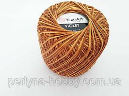 Пряжа нитки для вязания хлопковые  Виолет Ярнарт Violet YarnArt 100% меланж золотистий темний № 012