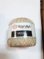 Пряжа нитки для вязания хлопковые Виолет Ярнарт Violet YarnArt 100% бавовна беж світлий № 4660
