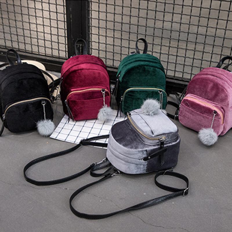 Милые бархатные \ велюровые рюкзаки с помпоном
