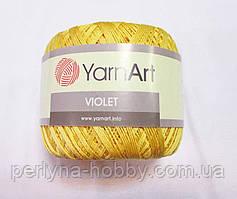 Пряжа нитки для вязания хлопковые  Виолет ЯрнартViolet YarnArt 100% бавовна жовтий пастельний   № 4653