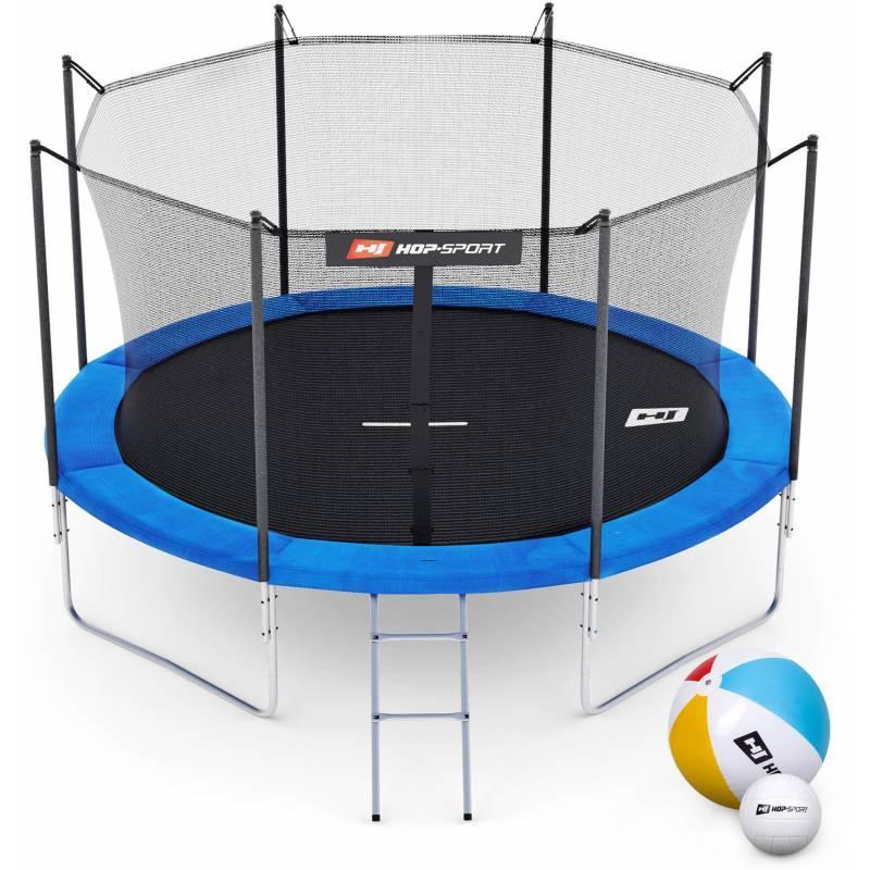 Батут Hop-Sport 10ft (305cm) синій із внутрішньою сіткою (4 ноги)