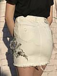 Женская белая юбка с цветочной аппликацией, фото 3