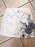 Женская белая юбка с цветочной аппликацией, фото 6