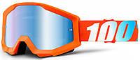 Мотоочки 100% STRATA Goggle Orange - Mirror Blue Lens, фото 1