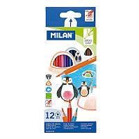 """Олівці кольорові дерев'яні """"TM MILAN"""" 12 штук"""