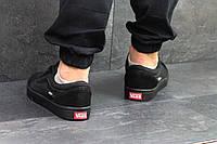 ХИТ! Кроссовки кеды для мужчин весна текстиль и замша черные в стиле Vans