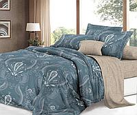Сатиновое двуспальное постельное белье 180х220 (14355) хлопок 100% KRISPOL Украина