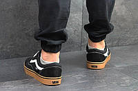Кроссовки для мужчин весна текстиль и замша черные с коричневым в стиле Vans