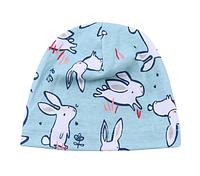 Однослойная трикотажная детская шапочка Зайцы 4 мес.- 2 года ( ОГ: 44-50см.), фото 1