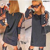 Женское стильное платье с люрексовым напылением