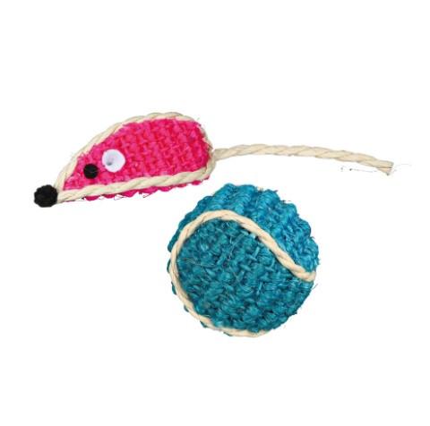 Игрушка для котов и котят набор мышка+шарик сизаль, Trixie, 5см