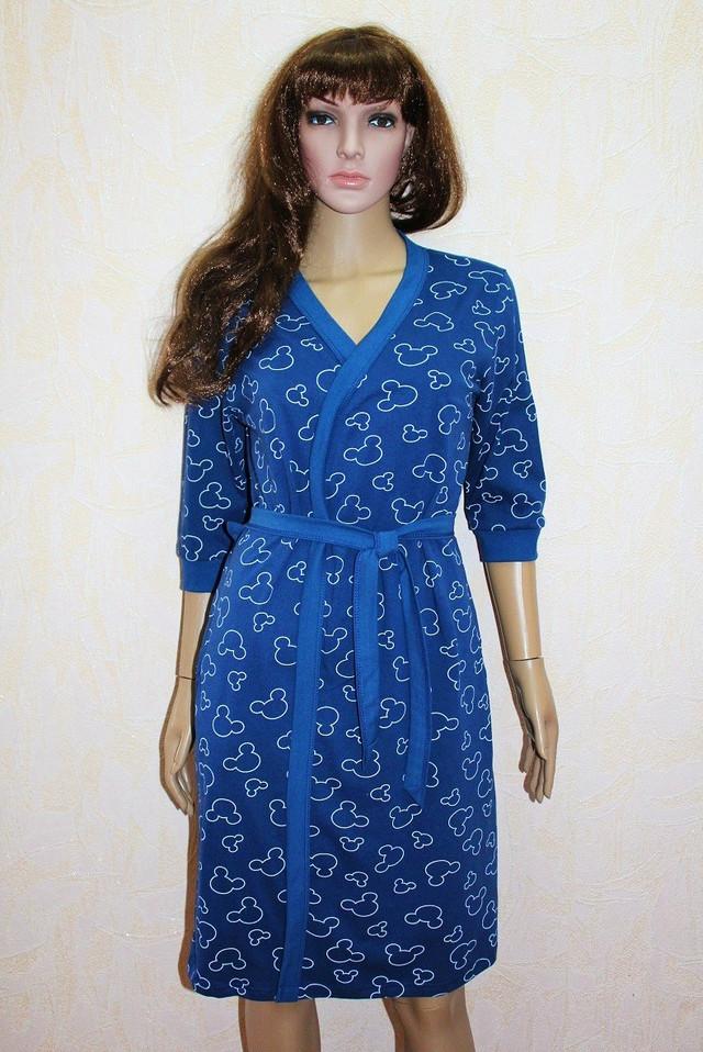 Женский комплект летний халат с ночной синий Микки Маус 44-54р.