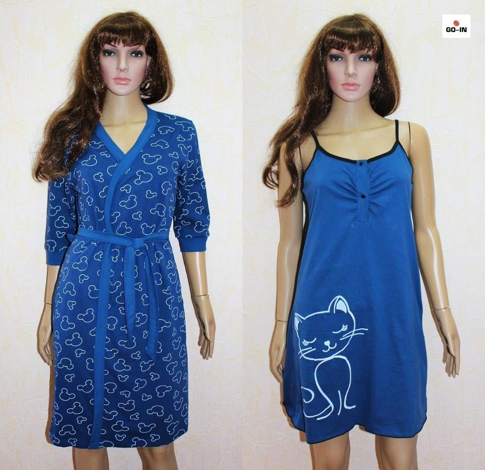 Жіночий комплект літній халат з нічної синій Міккі Маус 44-54р.
