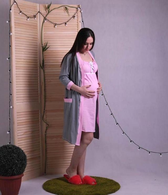 Женский комплект в роддом халат и сорочка, для беременных и кормящих мам розовый р.42-54