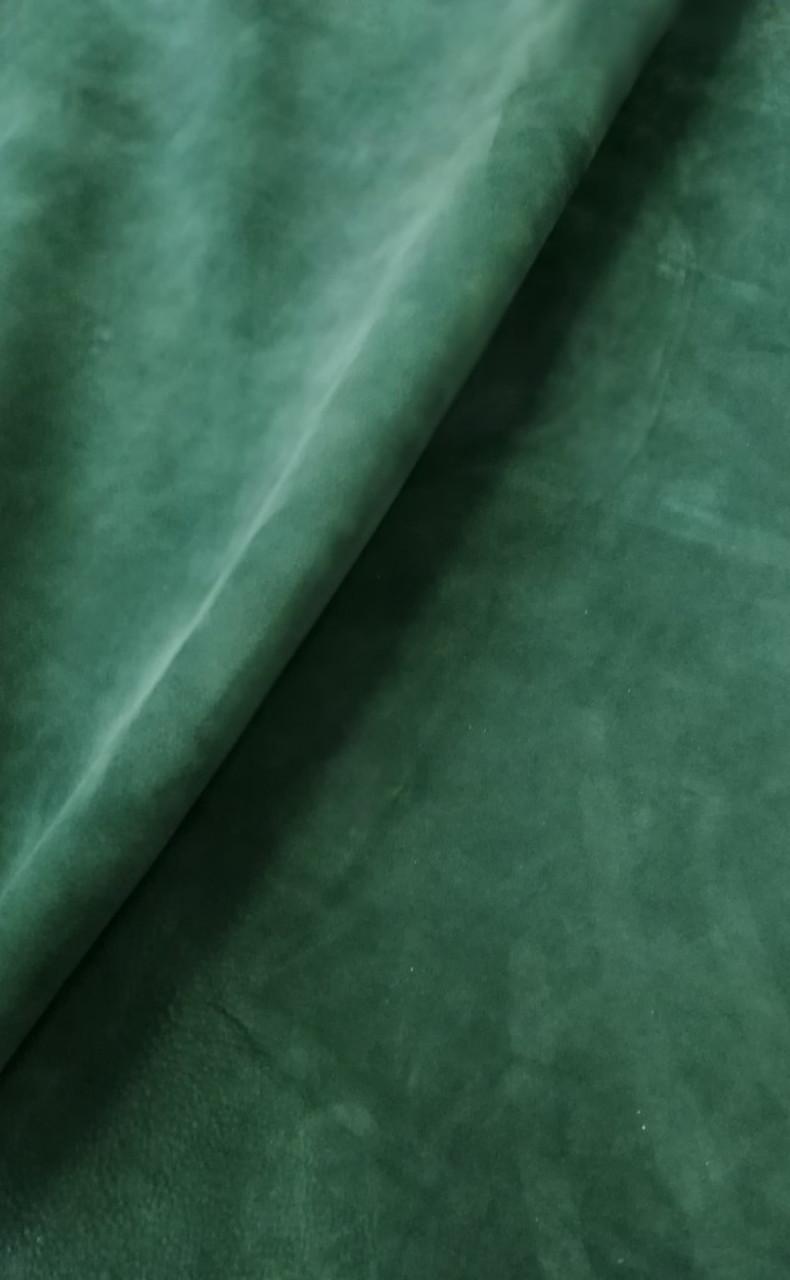 Натуральная кожа Нубук зеленый