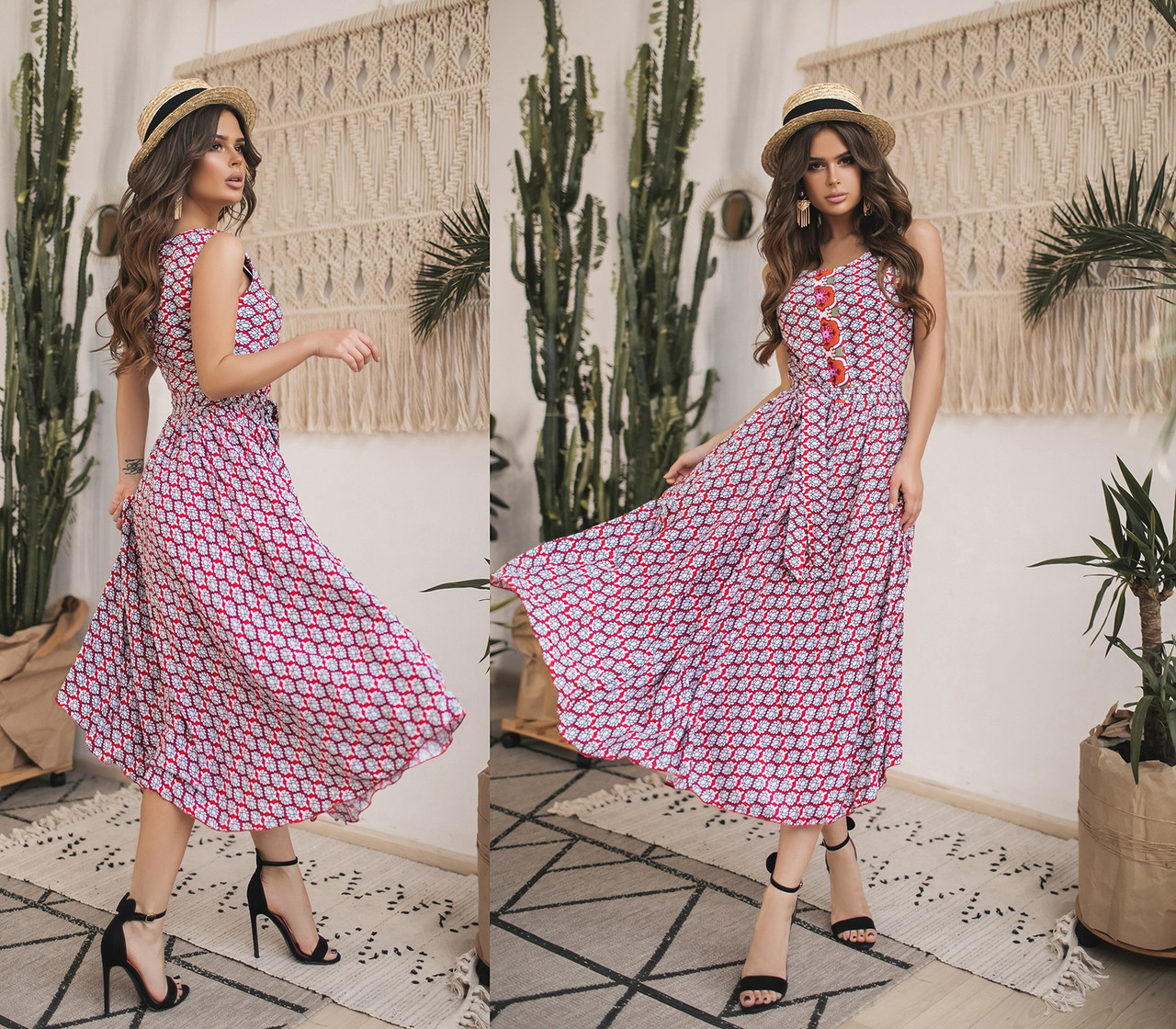 Платье  миди в расцветках  82593