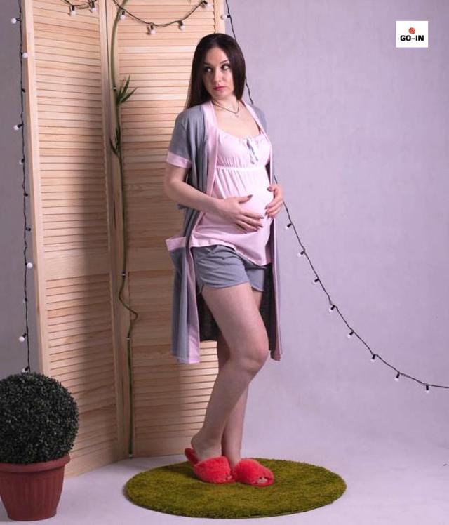 Домашний женский летний комплект халат с пижамой розовый р.42-52