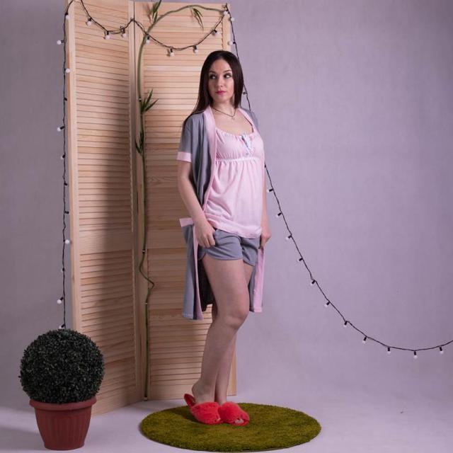 Домашний женский летний комплект халат с пижамой розовый