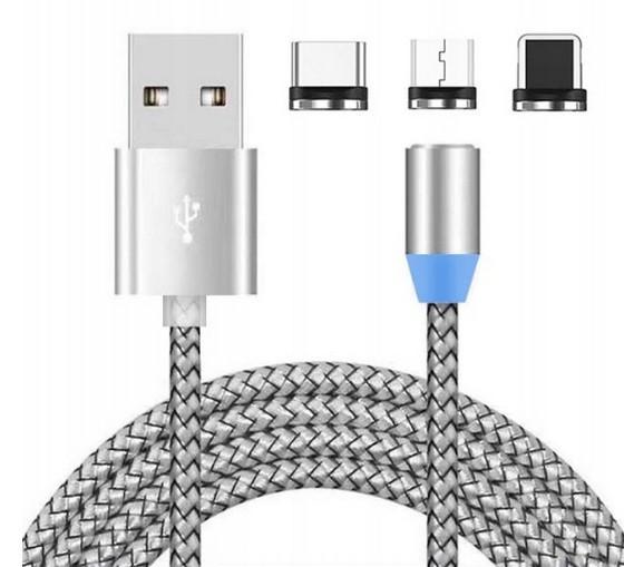 Универсальный магнитный кабель для зарядки 3в1 micro USB  в оплётке