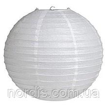Бумажный подвесной шар белый, 35 см.