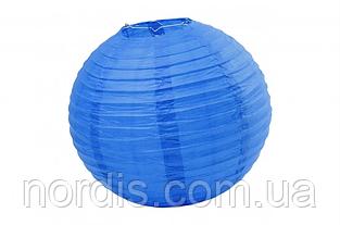Бумажный подвесной шар синий, 35 см.