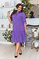 Платье - рубашка  БАТАЛ миди горошек в расцветках 821017, фото 2