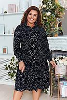 Платье - рубашка  БАТАЛ миди горошек в расцветках 821017, фото 3