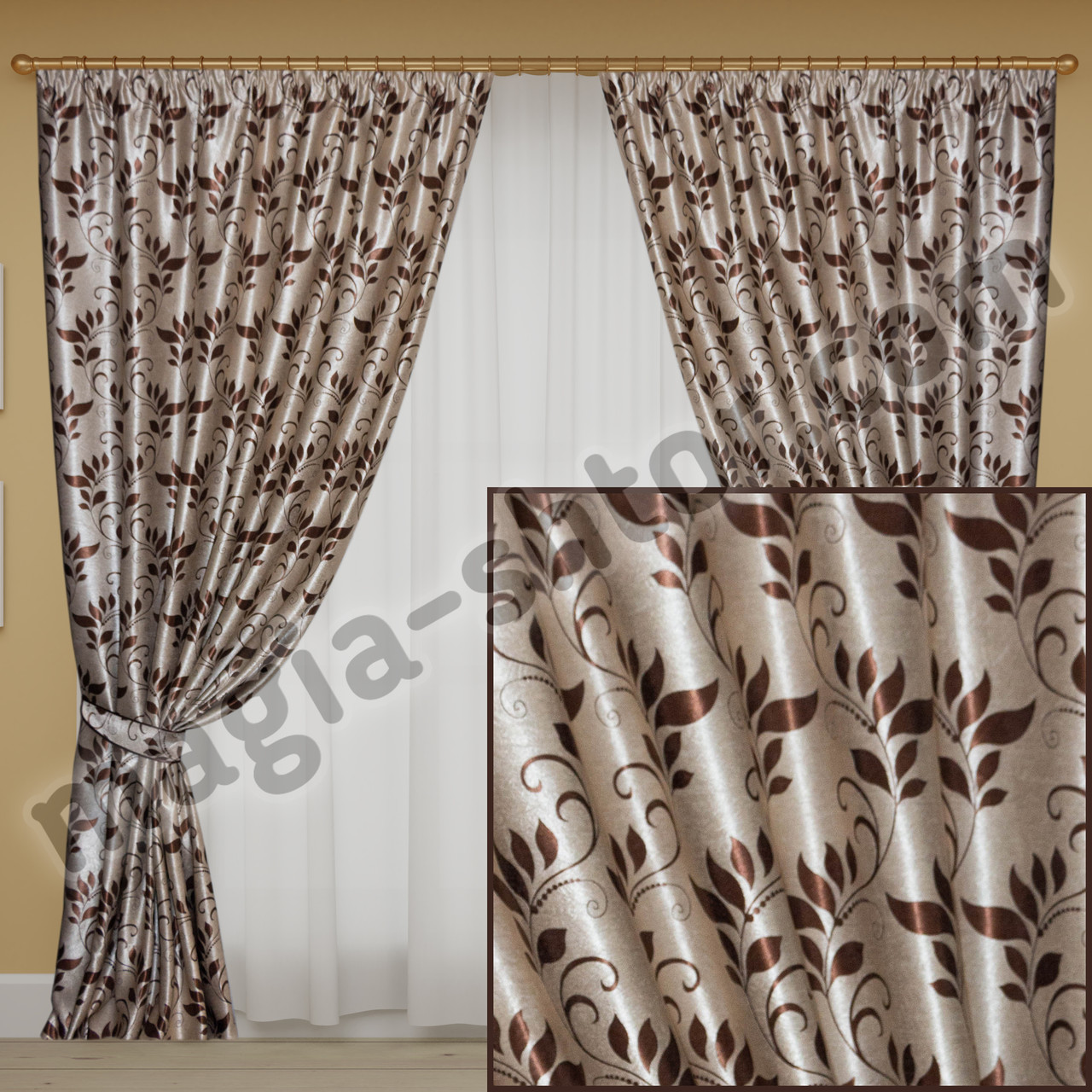 Комплект готовых штор блэкаут, цвет коричневый