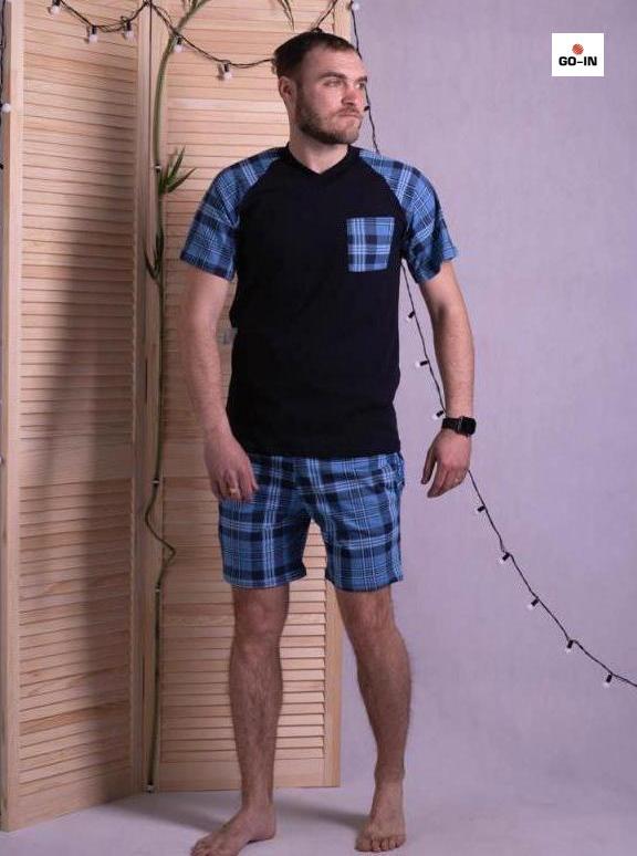 Пижама мужская футболка и шорты в клетку хлопковая синяя летняя 48-56р.