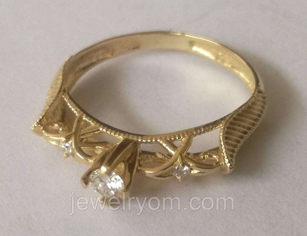 Кільце КБ1695МДз, золото 585 проба, кубічний цирконій