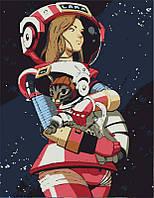 """Акриловая картина по номерам на холсте """"Девушка с котом в космосе"""" 35х45, 3 уровень сложности"""