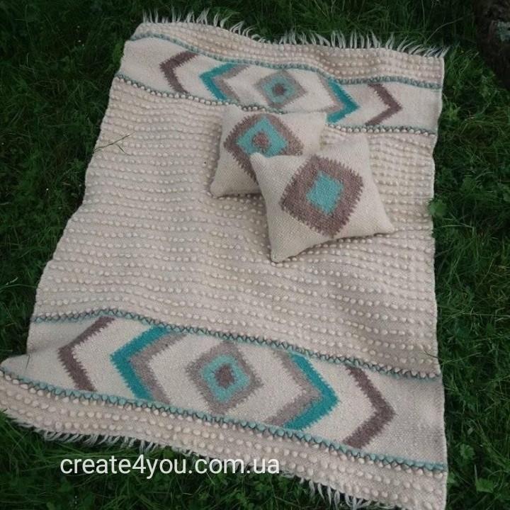 Ліжник та 2 подушки з натуральної овечої шерсті