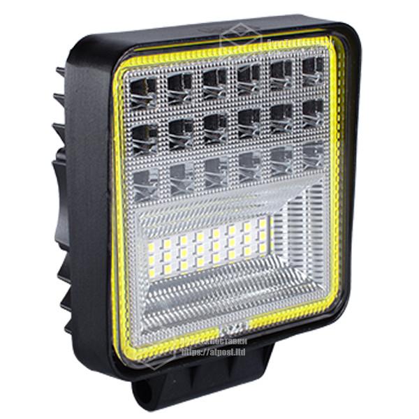 Фара LED квадратная 126W, 42 лампы, широкий луч 10/30V 6000K толщина: 40 мм.+ LED кольцо