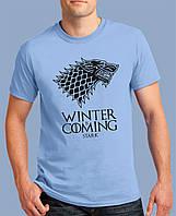 """Популярная мужская футболка с волком из Игры престолов с принтом """"Winter Is Coming"""" очень стильная! голубая"""