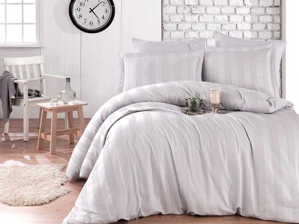Комплект постельного белья двуспальный ЕвроExclusive Sateen Diamond Wafel Gri 200х220 (37806_2,0)