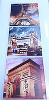 Модульная картина с достопримечательностями Парижа 110х35 см (35x35-3шт)