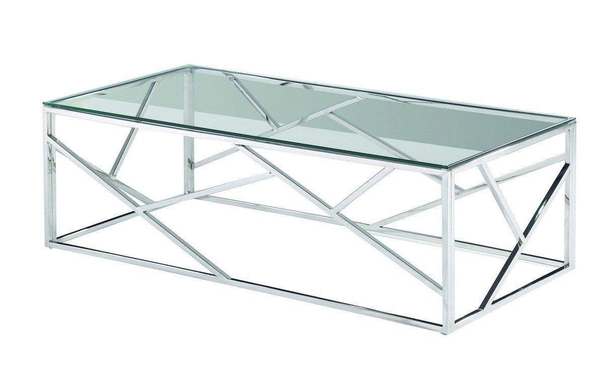 Журнальный стол CF-1 прозрачный + серебро / clear/ silver ТМ VetroMebel