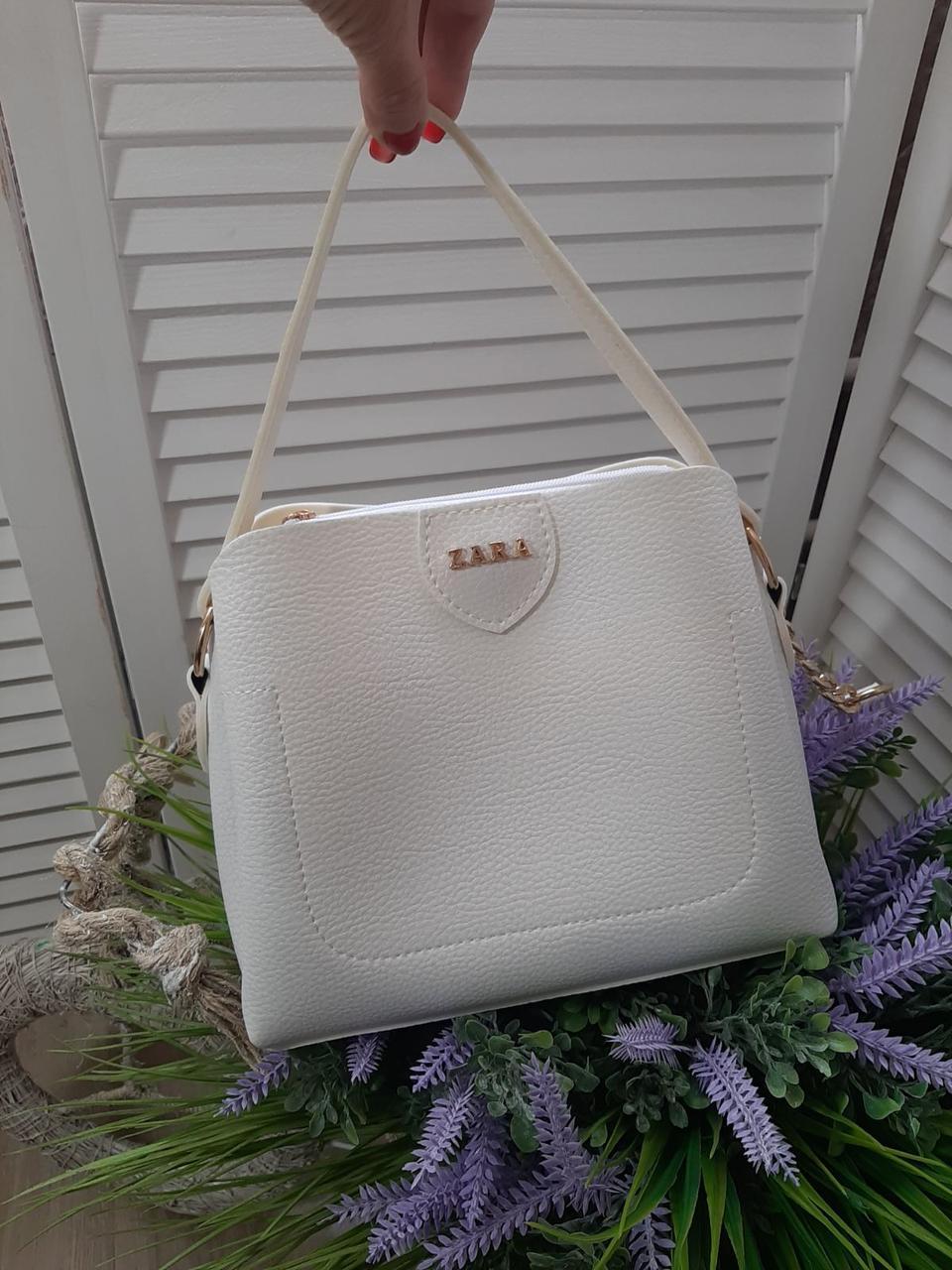Маленька біла жіноча сумка невелика класична сумочка через плече кожзам