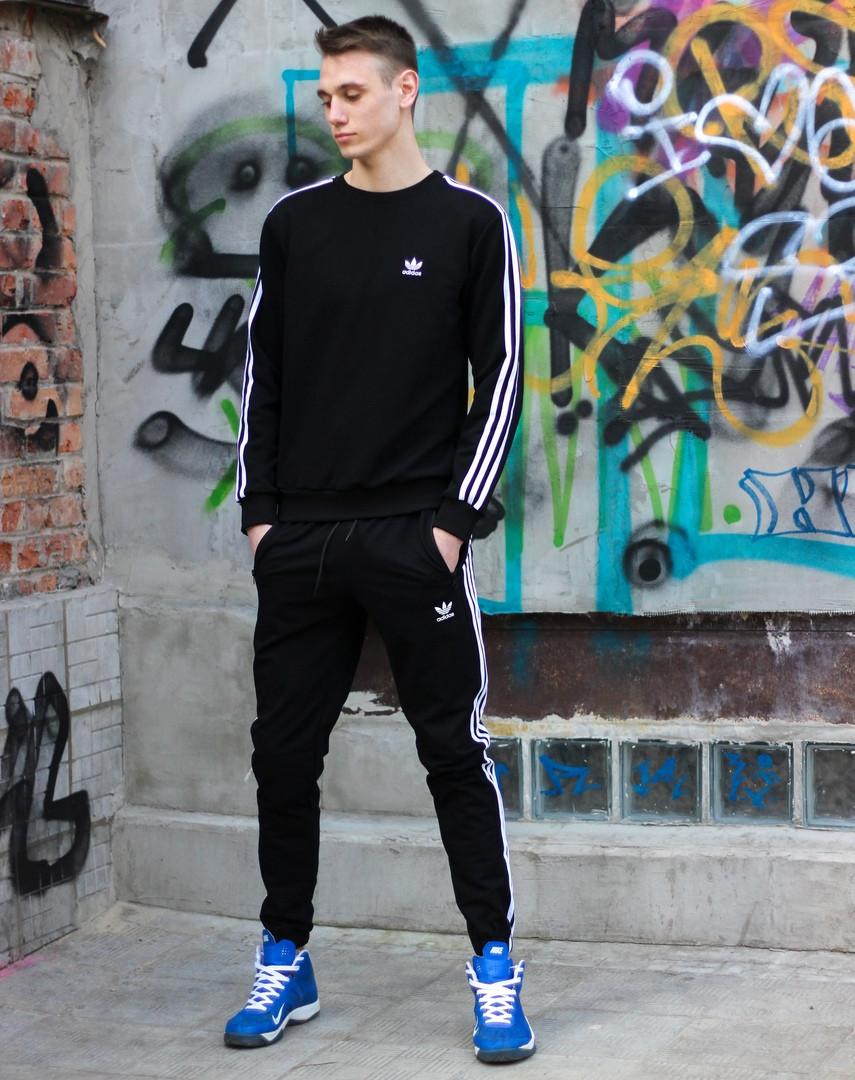 Чоловічий спортивний костюм Adidas чорного кольору. Кофта+штани Адідас.